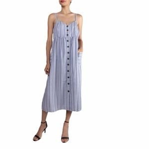 Miss Love Striped button front midi dress